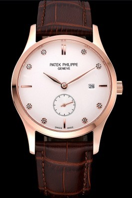 Patek Philippe Calatrava White Dial Diamond Numerals Rose Gold Case Brown Leather Strap 622834 Fake Patek Philippe
