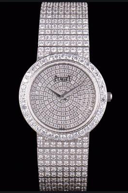 Replica Piaget Swiss Limelight Diamonds Encrusted Stainless Steel Watch 80297