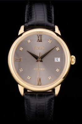 Replica Piaget Swiss Traditional Grey Dial Black Leather Strap 7622