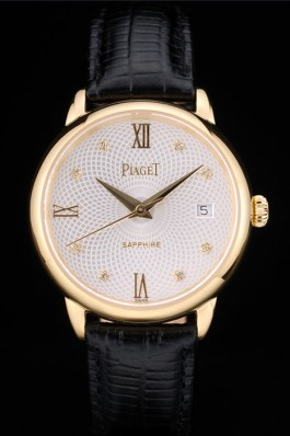 Replica Piaget Swiss Traditional White Radial Pattern Dial Black Leather Strap 7635