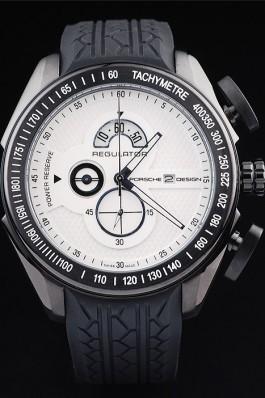 Porsche Regulator Power Reserve Black Case White Dial Best Designer Replica