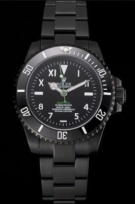 Rolex Bamford Submariner Black Dial Roman Numerals Black Ionized Case And Bracelet Rolex Submariner Replica
