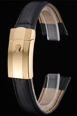 Rolex Black Leather with Gold Clasp Bracelet 622496 Replica Rolex Bracelet