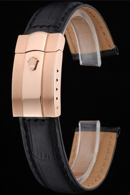 Rolex Black Leather with Rose Gold Clasp Bracelet 622498 Replica Rolex Bracelet