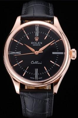 Rolex Cellini Black Dial Pink Gold Case Black Leather Strap 622842 Replica Rolex