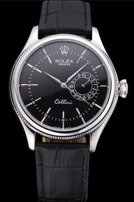 Rolex Cellini Black Dial Stainless Steel Case Black Leather Bracelet 622724 Replica Rolex