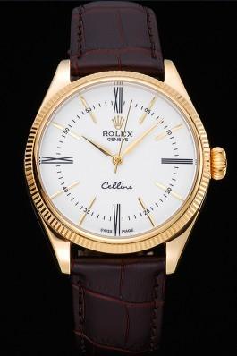 Rolex Cellini White Dial Gold Case Brown Leather Strap 622833 Replica Rolex