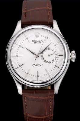 Rolex Cellini White Dial Stainless Steel Case Brown Leather Bracelet 622723 Replica Rolex