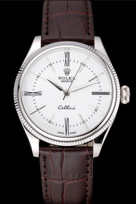 Rolex Cellini White Dial Stainless Steel Case Brown Leather Strap 622839 Replica Rolex