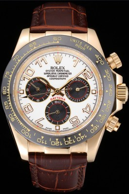 Rolex Cosmograph Daytona Gold Case Black Subdials Brown Leather Bracelet 622634 Rolex Daytona Replica