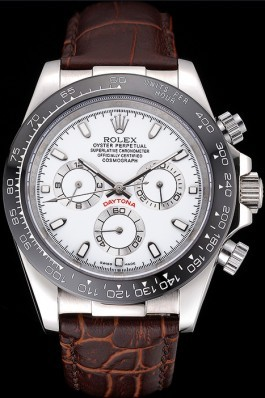 Rolex Cosmograph Daytona Stainless Steel Case White Dial Brown Leather Bracelet 622631 Rolex Daytona Replica