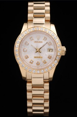 Rolex Datejust 18k Yellow Gold Plated Stainless Steel Diamond Plated 98076 Replica Rolex Datejust