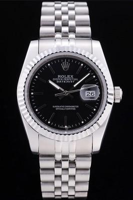 Rolex Datejust Black Dial Diamonds Ribbed Bezel 7456 Replica Rolex Datejust