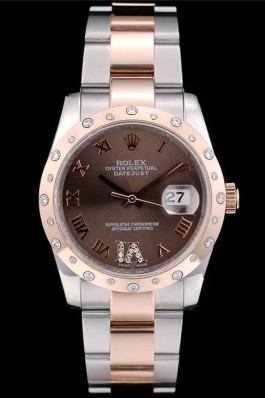 Rolex DateJust Brushed Stainless Steel Case Brown Dial Diamond Plated 41994 Replica Rolex Datejust
