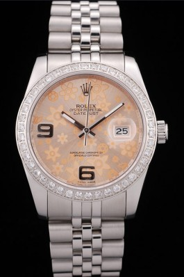 Rolex DateJust Brushed Stainless Steel Case Orange Flowers Dial Diamonds Plated Replica Rolex Datejust