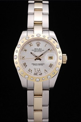 Rolex DateJust Brushed Stainless Steel Case White Dial Diamond Plated Replica Rolex Datejust