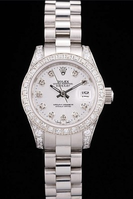 Rolex DateJust Brushed Stainless Steel Diamond Plated Case White Dial Diamond Plated Bezel Replica Rolex Datejust