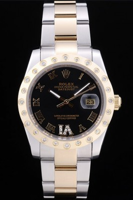 Rolex Datejust Diamond Bezel Black Dial 7463 Replica Rolex Datejust