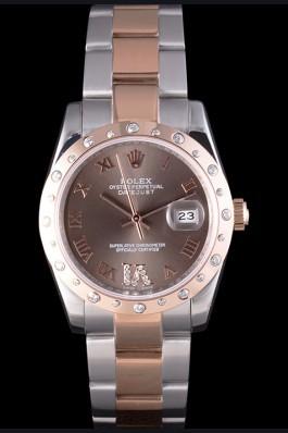 Rolex Datejust Diamond Bezel Brown Dial 7465 Replica Rolex Datejust