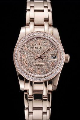 Rolex Datejust Diamond Dial And Bezel Pink Gold Case And Bracelet 622836 Replica Rolex Datejust
