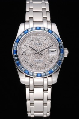 Rolex Datejust Diamond Dial Blue Jewels Bezel Stainless Steel Case And Bracelet 622834 Replica Rolex Datejust