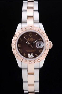 Rolex Datejust Diamonds Rose Gold Polished Bezel Brown Dial 7475 Replica Rolex Datejust