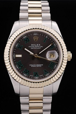 Rolex DateJust Gold Ribbed Pattern Bezel Black Dial Replica Rolex Datejust