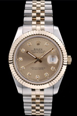 Rolex DateJust Gold Stainless Steel Ribbed Bezel Goldish Dial 41978 Replica Rolex Datejust