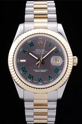 Rolex Datejust Grey Dial Gold Ribbed Bezel 7479 Replica Rolex Datejust