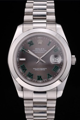 Rolex DateJust Grey Dial Stainless Steel Strap 41982 Replica Rolex Datejust