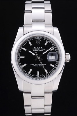 Rolex Datejust Polished Silver Bezel Black Dial 7467 Replica Rolex Datejust