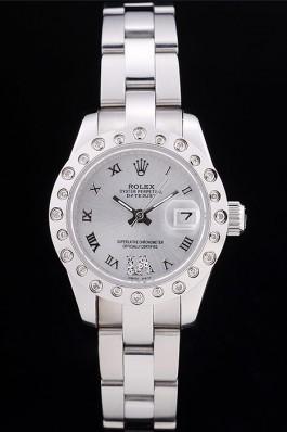 Rolex Datejust Polished Silver Diamonds Bezel Silver Dial 7474 Replica Rolex Datejust