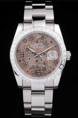 Rolex Datejust Polished Stainless Steel Brown Flowers Dial Diamond Plated Replica Rolex Datejust