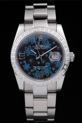 Rolex Datejust Polished Stainless Steel Dark Blue Flowers Dial Diamond Plated Replica Rolex Datejust