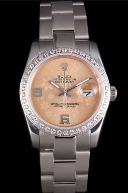 Rolex Datejust Polished Stainless Steel Orange Flowers Dial Diamond Plated Replica Rolex Datejust