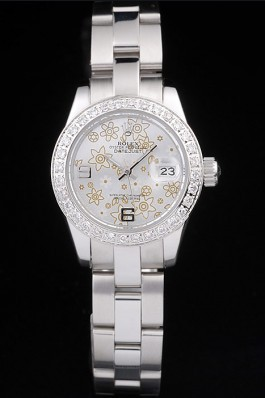 Rolex Datejust Polished Stainless Steel Silver Flowers Dial Diamond Plated 98082 Replica Rolex Datejust