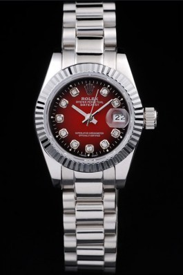 Rolex Datejust Polished Stainless Steel Two Tone Red Dial Replica Rolex Datejust
