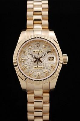 Rolex DateJust Ribbed Pattern Gold Bezel Gold Dial Replica Rolex Datejust