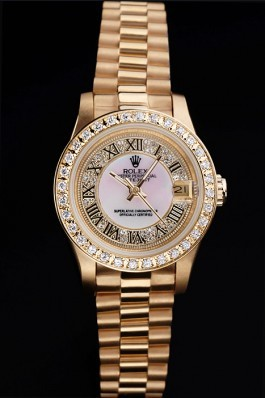 Gold Stainless Steel Band Top Quality Rolex Luxury Gold Watch 5239 Replica Rolex Datejust