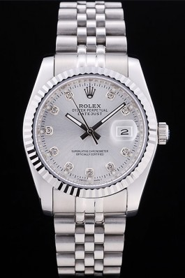 Rolex Datejust Silver Dial Diamonds Ribbed Bezel 7455 Replica Rolex Datejust