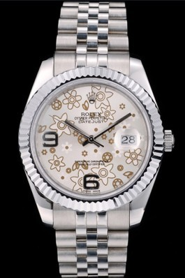 Rolex DateJust Stainless Steel Ribbed Bezel Flower Silver Dial 41983 Replica Rolex Datejust