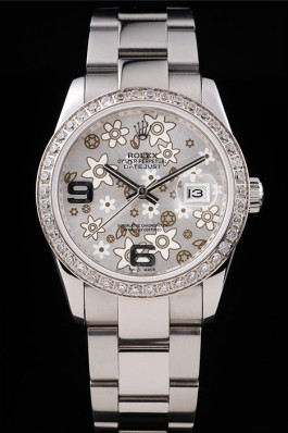 Rolex Datejust Stainless Steel Silver Flowers Dial Diamond Plated rl305 Replica Rolex Datejust