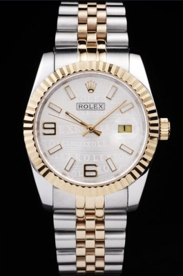 Rolex DateJust Two Tone Stainless Steel 18k Gold Plated Silver Dial 98084 Replica Rolex Datejust