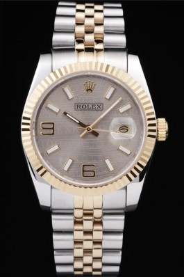 Rolex DateJust Two Tone Stainless Steel 18k Gold Plated Silver Dial 98085 Replica Rolex Datejust