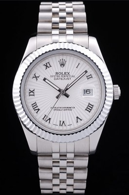 Rolex Datejust White Radial Dial Ribbed Bezel 7478 Replica Rolex Datejust