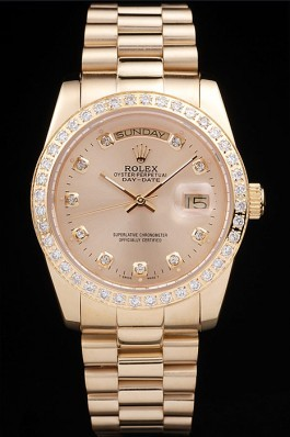 Rolex Day-Date 18k Yellow Gold Plated Stainless Steel Gold Dial Rolex Replica Aaa