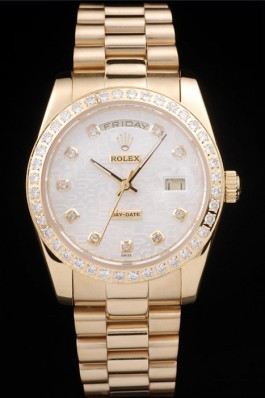 Rolex Day-Date 18k Yellow Gold Plated Stainless Steel White Dial Rolex Replica Aaa