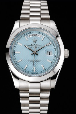 Rolex Day Date 40 Ice Blue Dial Stainless Steel Case And Bracelet Rolex Replica Aaa