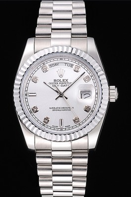 Rolex Day-Date Polished Stainless Steel Silver Dial Rolex Replica Aaa