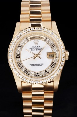 Gold Stainless Steel Band Top Quality Gold Day-Date Luxury Watch 5203 Rolex Replica Aaa